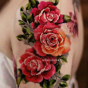 Vintage Realistic Watercolor Rose Shoulder Tattoo Ideas for Women Floral Traditional Tat -  Ideas de tatuaje de hombro rosa para mujeres - www.MyBodiArt.com