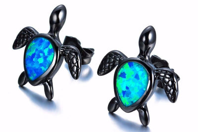 Turtle Statement Stud Earrings in Black with Blue Opal - www.MyBodiArt.com