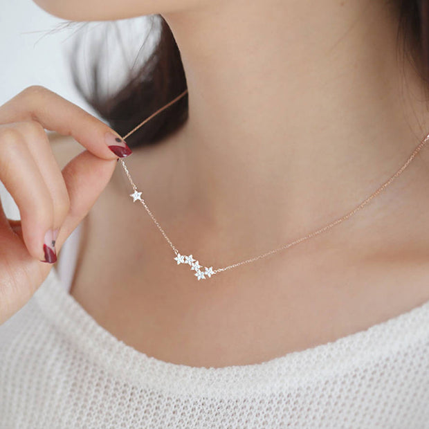 11317929b6713 Wonder Cute Crystal Star Floating Pendant Necklace in Silver