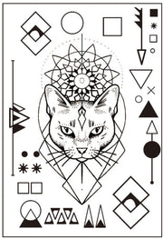 Boho Tribal Geometric Shapes Egyptian Sacred Mandala Cat Outline Temporary Tattoo - www.MyBodiArt.com #tattoos