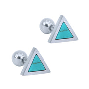 Kaja Turquoise or Howlite Triangle Ear Piercing Jewelry Studs 16G for Cartilage, Helix, Tragus, Conch Earrings in Silver - www.MyBodiArt.com #earrings
