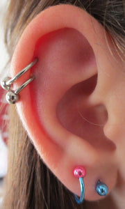 Simple Ear Piercing Ideas - Double Cartilage Helix Earring with Bull Ball - Spiral Lobe Ring Hoop - MyBodiArt.com
