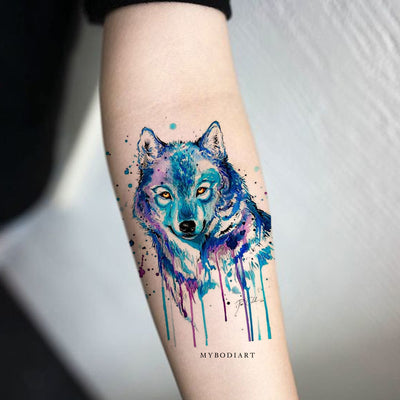 Cute Watercolor Blue Wolf Forearm Temporary Tattoo Ideas for Women -  Acuarela lobo antebrazo tatuaje ideas para mujeres - www.MyBodiArt.com