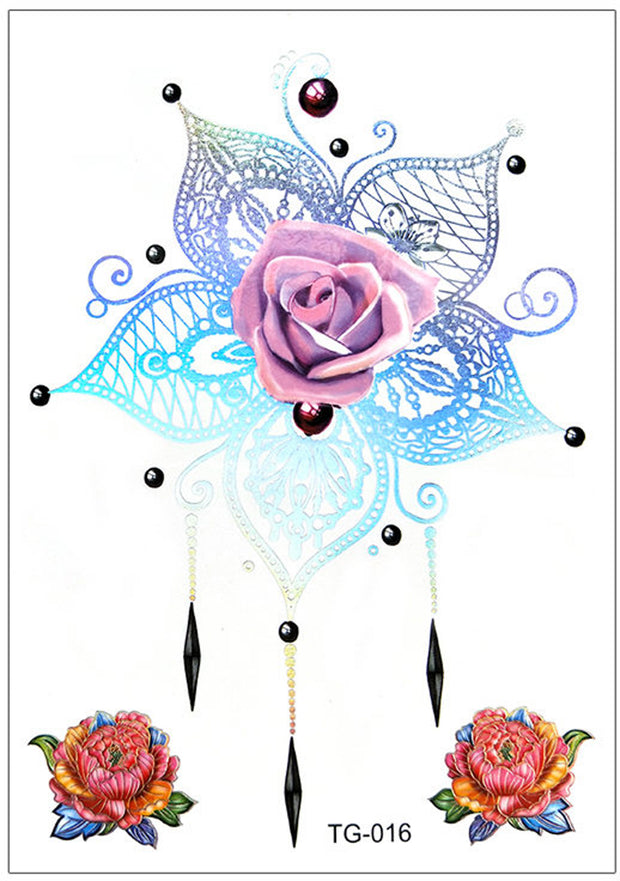 Sakai Unique Metallic Rose Flower Chandelier Mandala Temporary Tattoo - www.MyBodiArt.com #tattoos