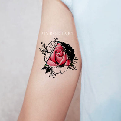 1c938ae37 Unique Pink Rose Arm Tattoo Ideas for Women - Realistic Black Geometric  Triangle Outline Watercolor Floral
