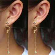 Unique Cute Star Hoop Dangle Drop Gold Earrings for Women - www.MyBodiArt.com