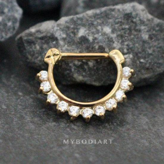 Crystal Septum Clicker or Daith Piercing Jewelry in 16G Gold