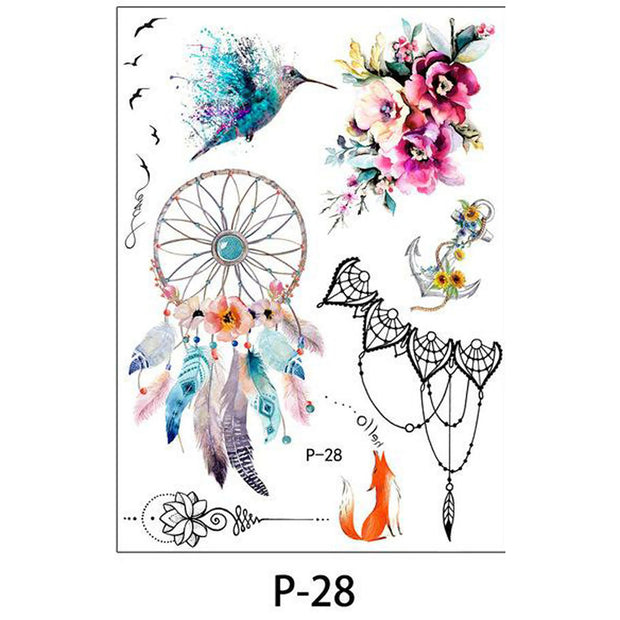 Watercolor Vintage Temporary Tattoo Ideas Flower Mandala Chandelier Dreamcatcher Hummingbird Fox Unalome - www.MyBodiArt.com