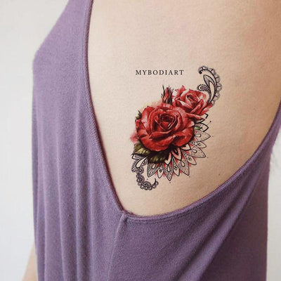 Pretty Watercolor Rose Rib Tattoo Ideas for Women Floral Flower Mandala Side Tat - www.MyBodiArt.com