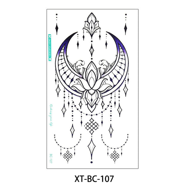 Talia Tribal Boho Moon Lotus Chandelier Temporary Tattoo - www.MyBodiArt.com