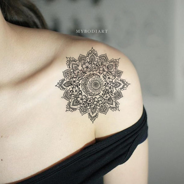 Geometric Meaningful Black Mandala Shoulder Tattoo Ideas for Women - www.MyBodiArt.com #tattoos