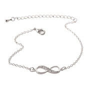 Simpre Cute Crystal Pave Infinity Charm Chain Bracelet in Silver or Gold Adjustable - www.MyBodiArt.com