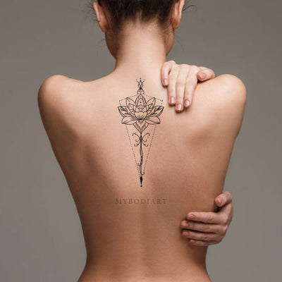 Bohemian Mandala Lotus Spine Tattoo Ideas for Women - Back Floral Flower Lily Tattoos -  ideas bohemias del tatuaje del loto para las mujeres - www.MyBodiArt.com