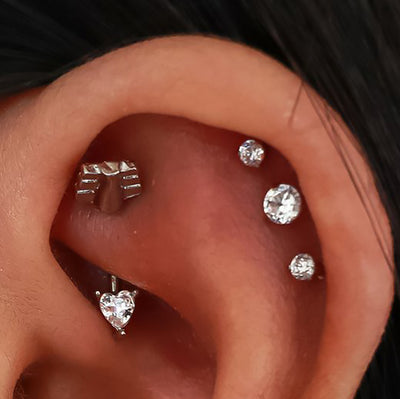 Cute Rook Piercing Jewelry Curved Barbell Earring for Women - www.MyBodiArt.com