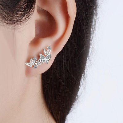 Fancy Ear Piercing Ideas for Women - Crystal Butterfly Ear Climber Earrings Ear Lobe -  ideas de piercing de oreja de lujo - www.MyBodiArt.com