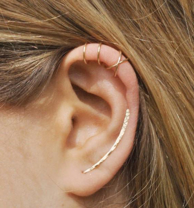 Minimalistic Simple Ear Piercing Ideas - Criss Cross X Cartilage Earring - Helix Ring - Hammered Gold Ear Crawler at MyBodiArt.com