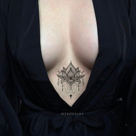 Small Sternum Temporary Tattoo Ideas for Women Lace Mandala Lotus Chandelier Black Tribal Boho Tat - www.MyBodiArt.com #tattoos