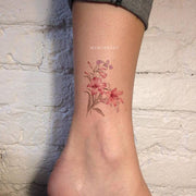 Pink Watercolor Floral Flower Ankle Tattoo Ideas for Women - www.MyBodiArt.com