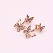 Cute Multiple Ear Piercing Ideas for Women - Cartilage Stud - Crystal Butterfly Ear Jacket Earring in Gold - www.MyBodiArt.com #earrings