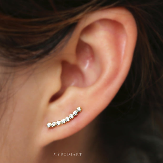 Minimalist Modern Ear Piercing Ideas for Women Crystal Cubic Zirconia Bar Ear Climber Earring Crawler - www.MyBodiArt.com #earrings