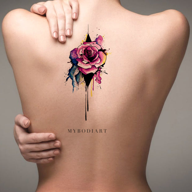 Cool Watercolor Melting Rose Back Tattoo Ideas for Women - Unique Neo Traditional Floral Flower Spine Tat - ideas de tatuaje de espalda de rosa de acuarela  - www.MyBodiArt.com #tattoos