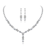 Fancy Dainty Crystal Necklace & Dangle Drop Stud Earrings Set - Sparkly Prom Formal Graduation Wedding Bridal Costume Fashion Jewelry - www.MyBodiArt.com