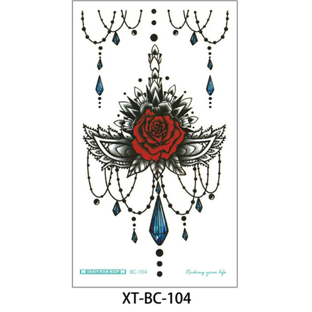 Camilia Red Rose Mandala Chandelier Sternum Temporary Tattoo