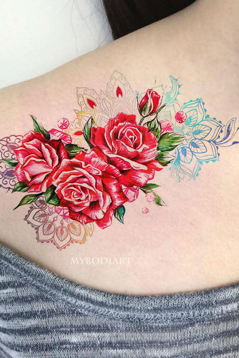 Unique Watercolor Rose Shoulder Temporary Tattoo Ideas for Women -  Ideas de tatuaje de antebrazo rosa - www.MyBodiArt.com