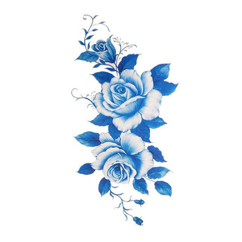 Elizabeth Blue Flower Temporary Tattoo