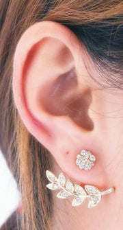 Cute & Unique Ear Piercing Ideas for Women - Popular Crystal Floral Flower Ear Jacket Earrings -  pendiente de cristal popular elegante de la oreja de la flor - www.MyBodiArt.com