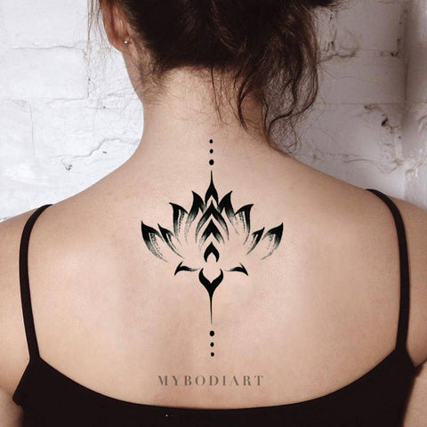 Alexi Black Watercolor Floral Lotus Flower Temporary Tattoo