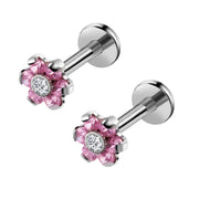Pink Crystal Flower Ear Piercing Jewelry Earring Stud for Cartilage Helix Tragus Conch Medusa Labret Jewelry Jewellery - www.MyBodiArt.com