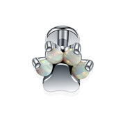 Cute Crystal or Opal Dog Paw Ear Piercing Jewelry Earring Stud in Silver - www.MyBodiArt.com