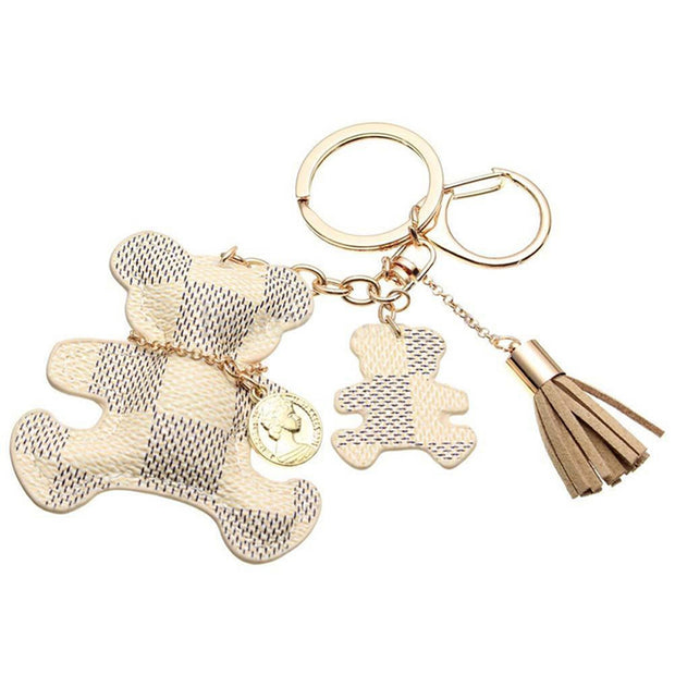 Cute Checkered Double Teddy Bear Keychain with Tassel Keyring Key Fob Fashion Accessories Jewelry Purse Bag Beige - www.MyBodiArt.com
