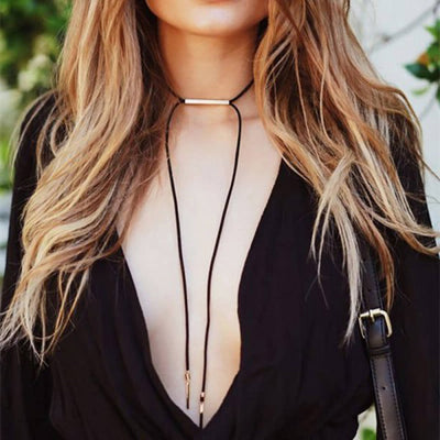Modern Lace Tie Up Black Suede Choker Necklace with Gold Detailing - Outfit Ideas for Going Out Party - www.MyBodiArt.com