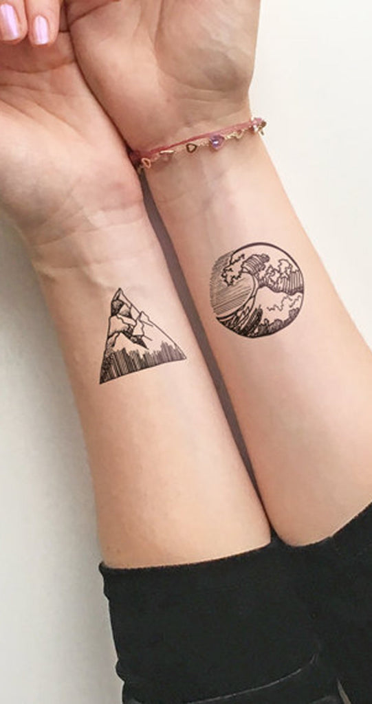 Solstice Small Geometric Nature Waves & Mountain Temporary ...
