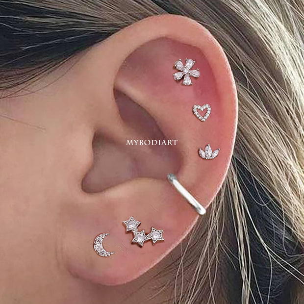 Flower Star Heart Multiple All the Way Around Cartilage Helix Ear Piercing Jewelry Ideas for Women - www.MyBodiArt.com