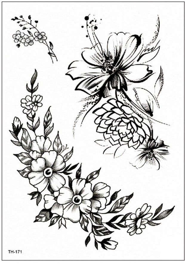 Arlet Vintage Black Wild Rose Flower Temporary Tattoo - www.MyBodiArt.com #tattoos