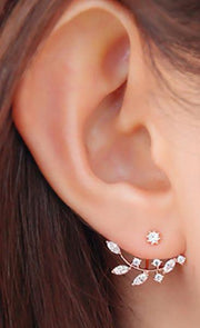 Cute Ear Piercing Ideas for Teen Girls - Crystal Ear Jacket Earrings for Women - www.MyBodiArt.com
