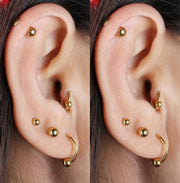 Cute Simple Minimal Ear Piercing Ideas - Gold Cartilage Helix Tragus Barbell Earring Piercing Stud 16G at MyBodiArt.com