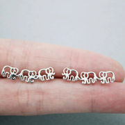 Cute Elephant Silver Ear Climber Earring Studs for Women Fashion Jewelry -  lindos aretes de elefante - www.MyBodiArt.com