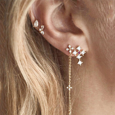 Cute Multiple Ear Piercing Ideas - Crystal Cross Clover Cartilage Tragus Triple Forward Helix Jewelry in Gold  - lindas orejas piercing ideas para las mujeres - www.MyBodiArt.com