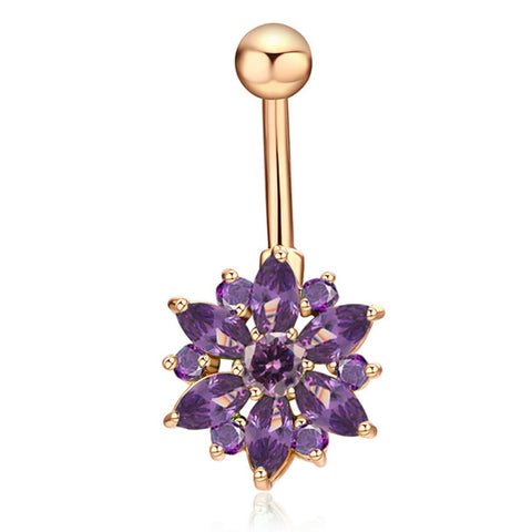 Cute Purple Crystal Flower Belly Button Ring Piercing Stud in Gold - www.MyBodiArt.com