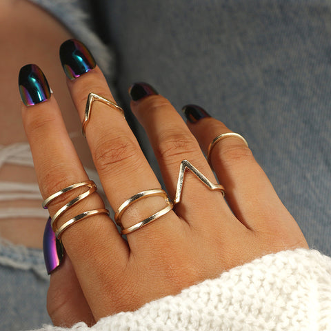 Cute Simple Boho Ring Set for Teens Geometric Shapes Arrow Bands Modern Artistic Midi Knuckle Stackable Fashion Rings in Gold - www.MyBodiArt.com #rings