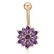 Cute Purple Swarovski Crystal Gold Belly Button Piercing Stud Bar Navel Ring Body Jewelry - www.MyBodiArt.com