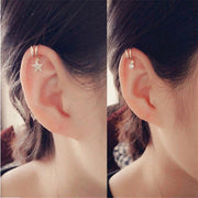Cute Simple Cartilage Ear Piercing Ideas - Ear Cuff Clip Earrings for Cartilage Helix Ear Lobe in Star, Heart, Crystal, Cross Design in Gold or Silver - lindas orejas piercing ideas para las mujeres - www.MyBodiArt.com