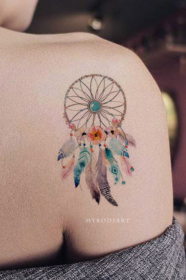 Daffodil Watercolor Dreamcatcher Flower Hummingbird Vintage Temporary Tattoo Set
