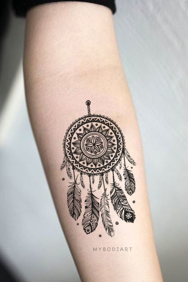 Tribal Boho Black Henna Mandala Dreamcatcher Forearm Temporary Tattoo Ideas for Women -  Ideas de tatuaje de antebrazo para mujer - www.MyBodiArt.com