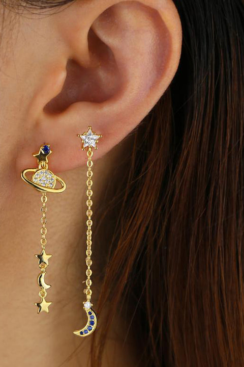 Unique Double Ear Lobe Ear Piercing Ideas - Galaxy Space Dangle Moon Star Planet Earring Studs - www.MyBodiArt.com #earrings