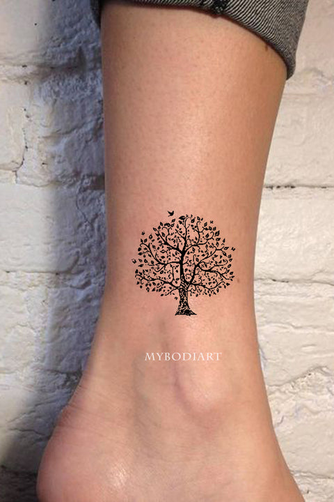 Cute Small Nature Tree Ankle Temporary Tattoo Ideas for Women - www.MyBodiArt.com